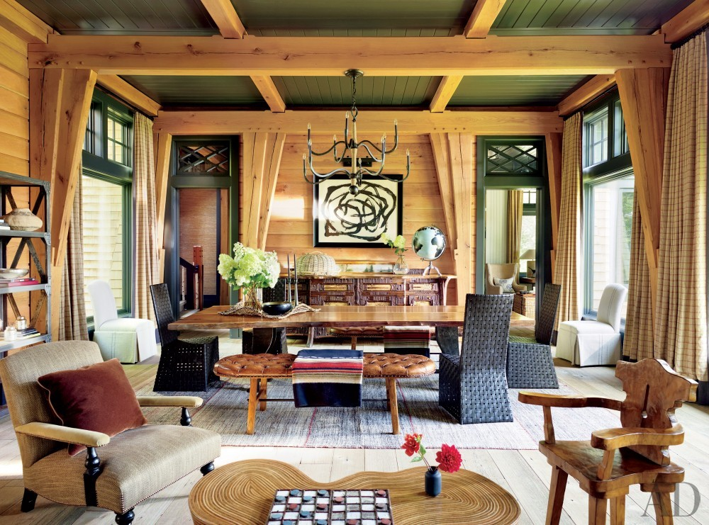Rustic Dining Room by Thom Filicia and Shope Reno Wharton in Upper Saranac Lake, NY