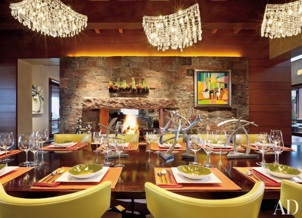 Rustic Dining Room by Wilson Associates and Overland Partners Architects in Santa Fe, New Mexico