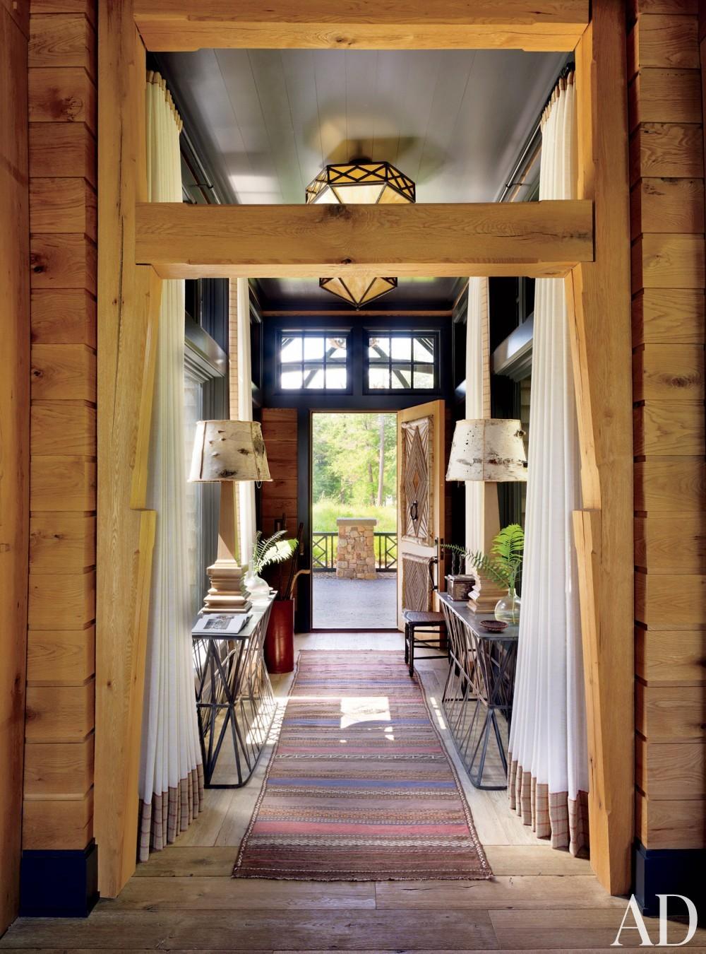 Rustic Entry by Thom Filicia and Shope Reno Wharton in Upper Saranac Lake, NY