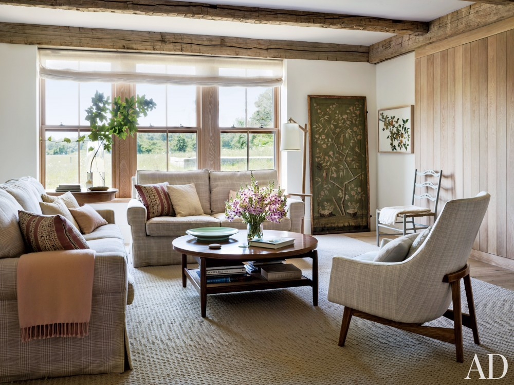 Rustic Family Room by Kathleen Walsh and Mark Hutker in Martha\'s Vineyard, MA