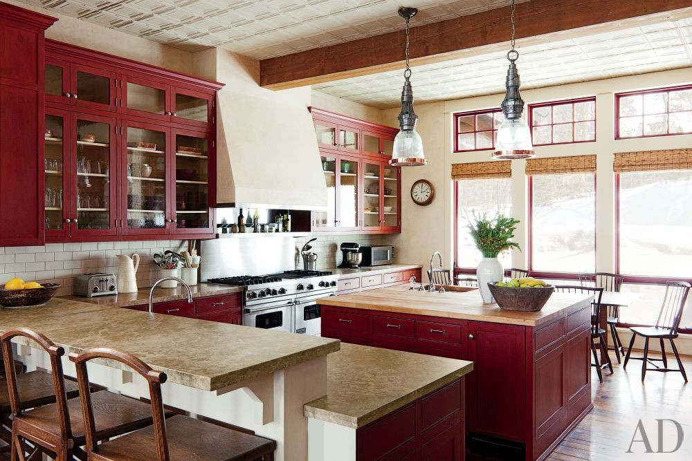 Rustic Kitchen by Michael S. Smith Inc. and Locati Architects in Big Sky, Montana