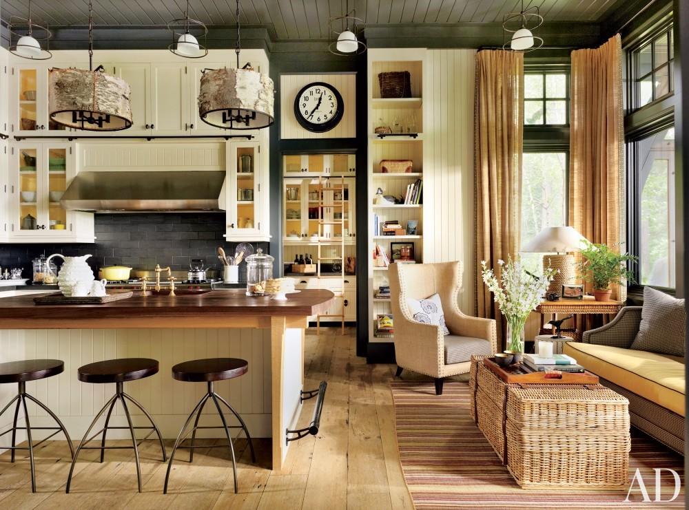 Rustic Kitchen by Thom Filicia and Shope Reno Wharton in Upper Saranac Lake, NY