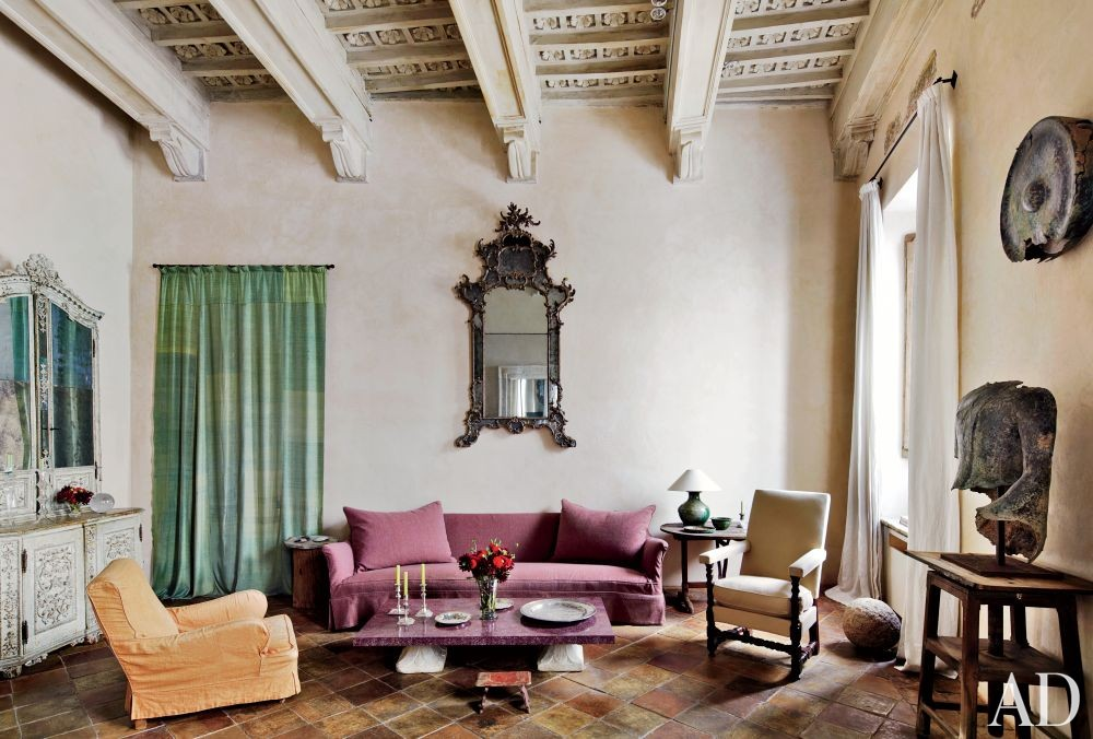 Rustic Living Room by Axel Vervoordt and Alessio Lipari Architects and Serena Mignatti Architect in Rome, Italy