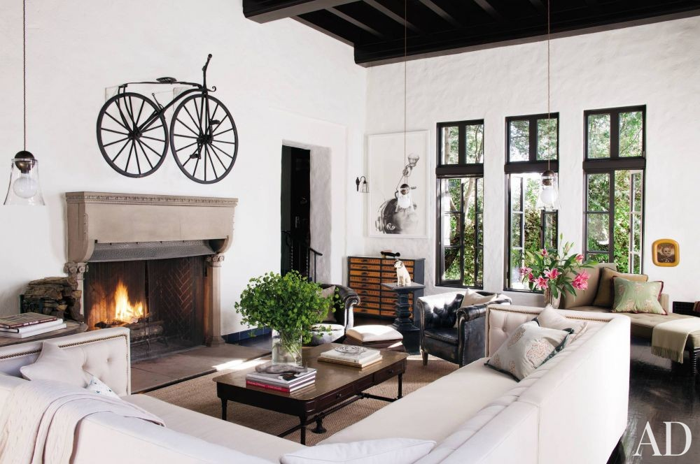 Rustic Living Room in Hollywood Hills, California