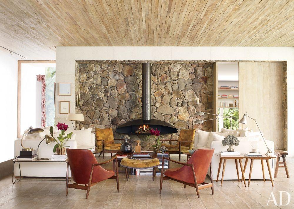 Rustic Living Room by Isay Weinfeld in São Paulo, Brazil