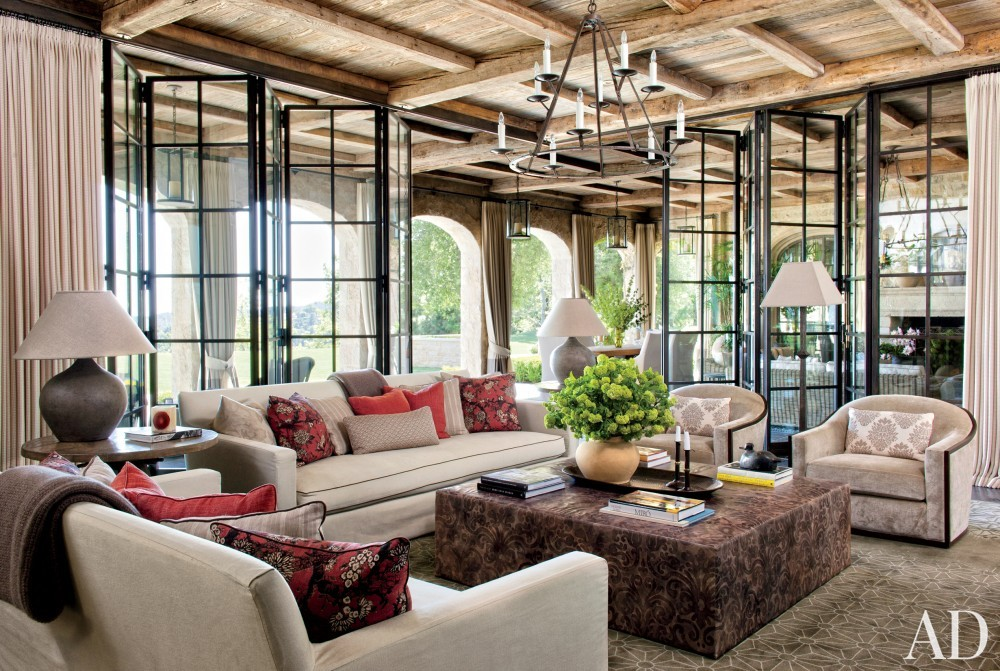 Rustic Living Room by Joan Behnke & Associates Inc. and Landry Design Group Inc. in Los Angeles, California