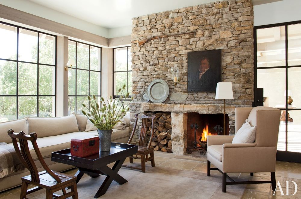 Rustic Living Room by Rela Gleason and McAlpine Tankersley Architecture in Calistoga, California