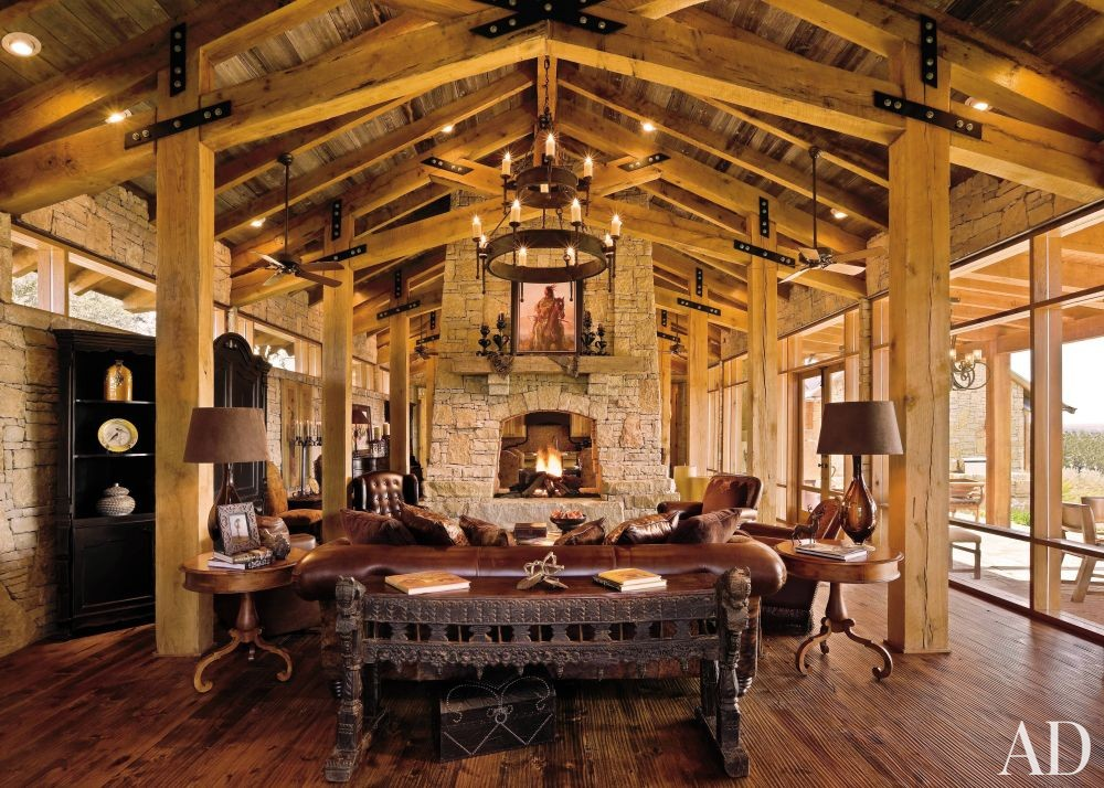 Rustic Living Room By HKS Inc By Architectural Digest AD DesignFile Hom