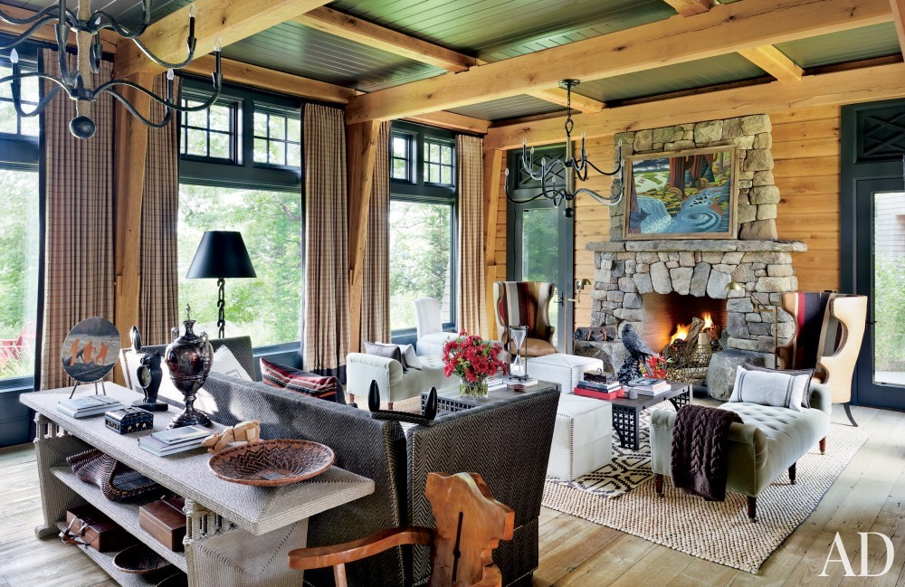 Rustic Living Room by Thom Filicia and Shope Reno Wharton in Upper Saranac Lake, NY