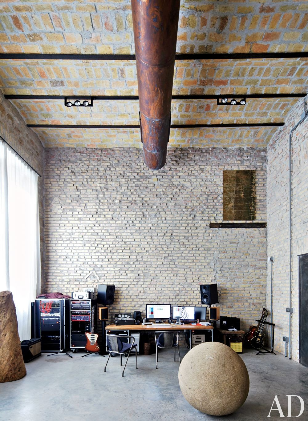 Rustic Media/Game Room by Axel Vervoordt and Alessio Lipari Architects and Serena Mignatti Architect in Rome, Italy