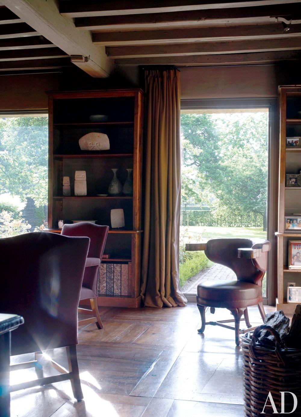 Rustic Office/Library by Axel Vervoordt in Belgium