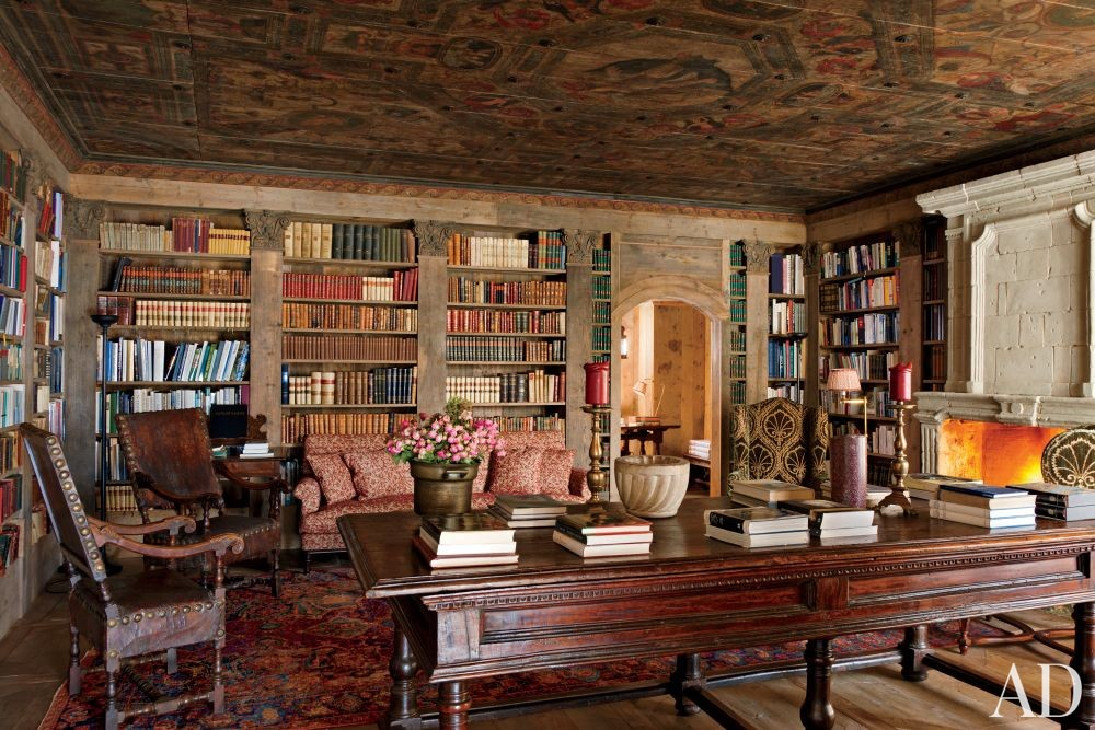 Rustic office library by studio peregalli by architectural for Mountain house library