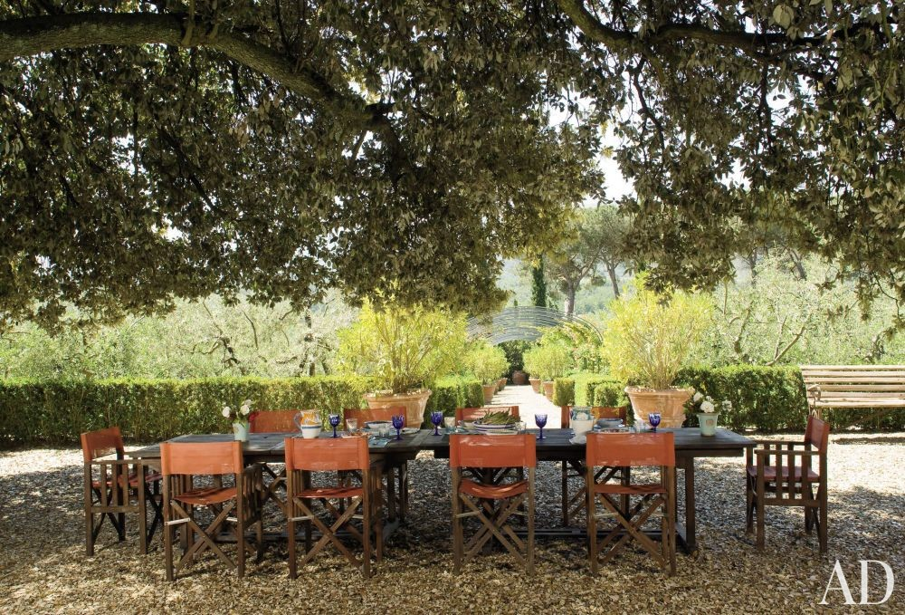 Rustic Outdoor Space by Arabella Lennox-Boyd in Tuscany, Italy