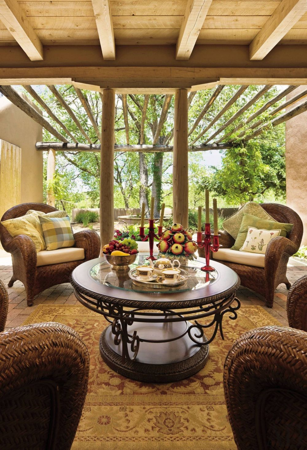 Rustic outdoor space by rose aiello by architectural for Santa fe decorations home