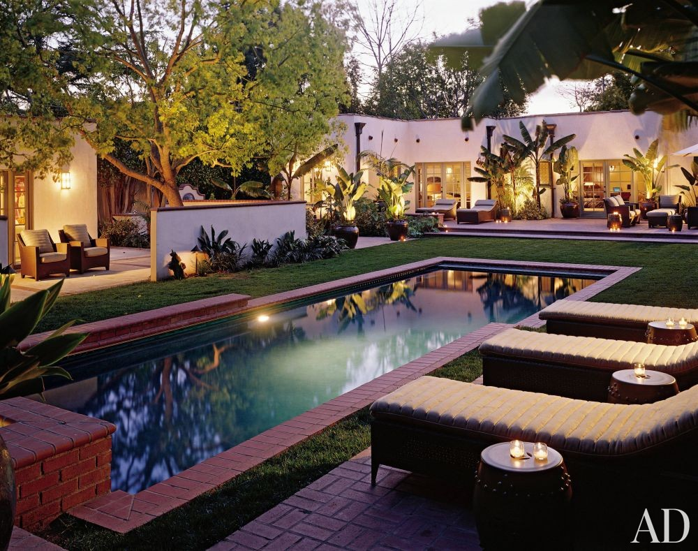 Rustic pool by craig wright by architectural digest ad for Pool design los angeles