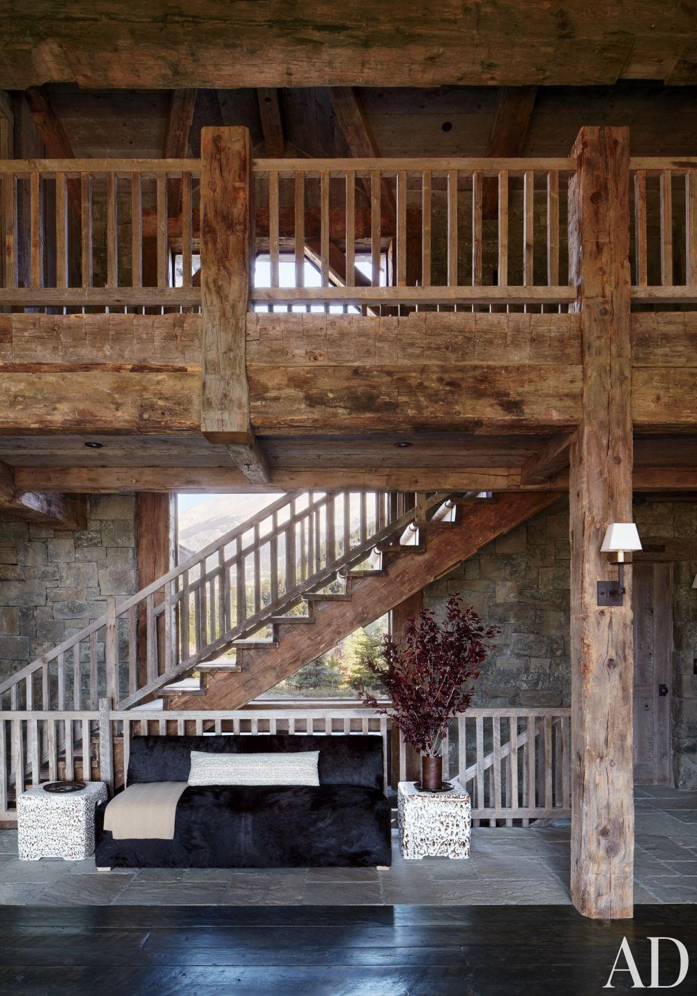 Rustic Living Room By Markham Roberts Inc By: Rustic Staircase/Hallway By Markham Roberts Inc. By