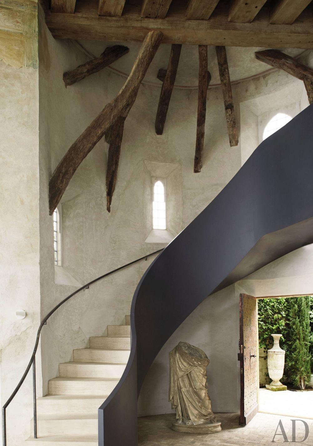 Rustic Staircase/Hallway by Richard Shapiro and Douglas W. Burdge in Malibu, CA
