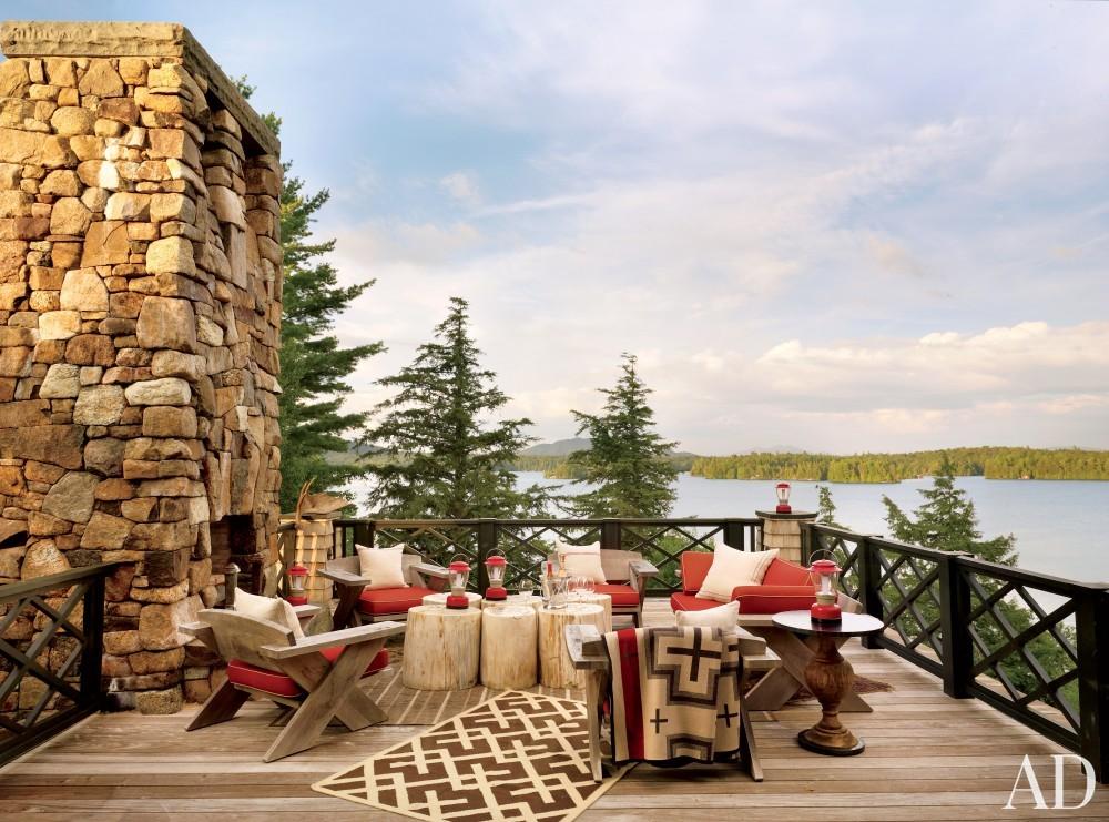 Rustic Terrace by Thom Filicia and Shope Reno Wharton in Upper Saranac Lake, NY