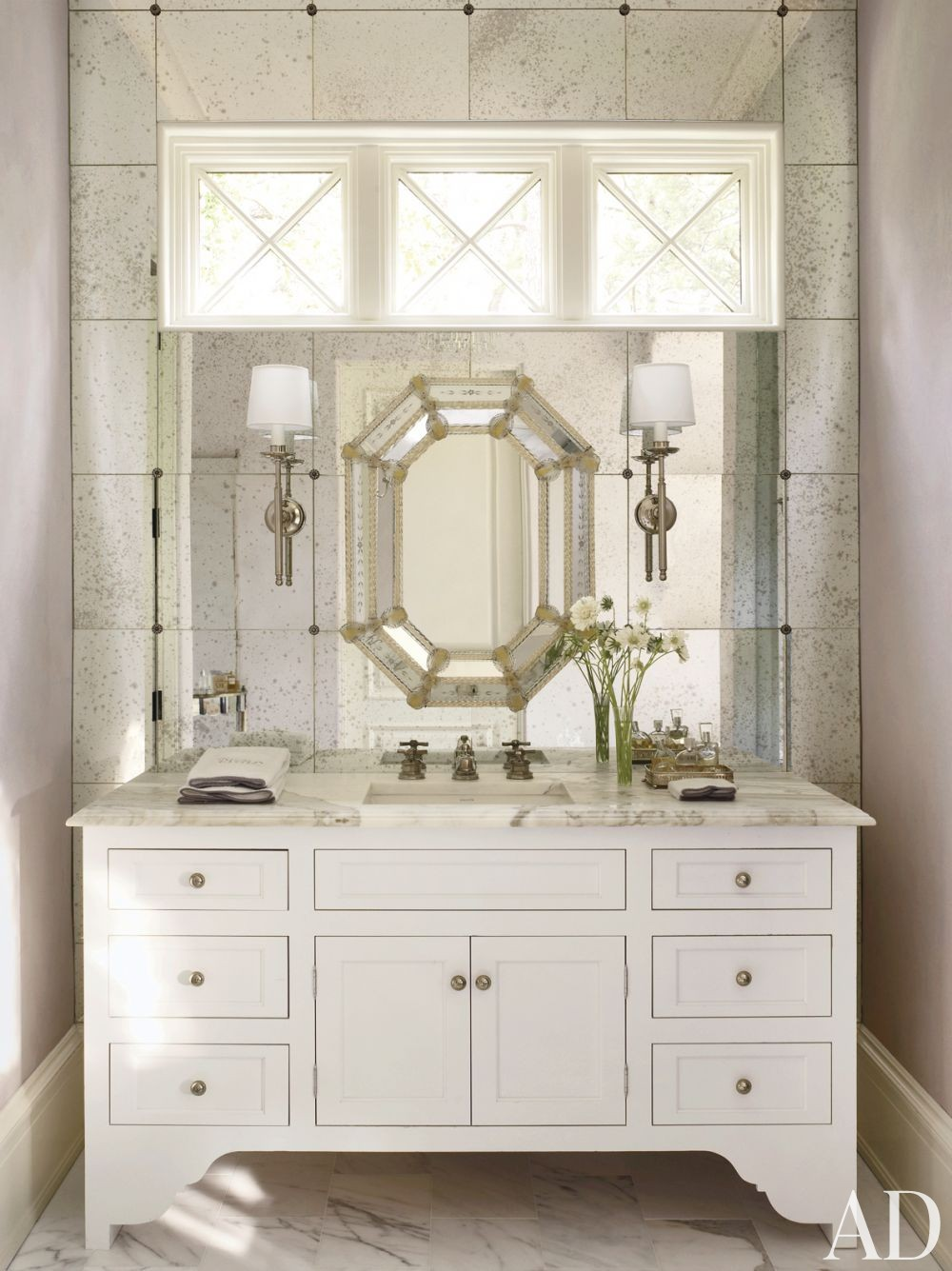 Traditional Bathroom by Suzanne Kasler Interiors and William T. Baker & Associates Ltd. in Atlanta, Georgia