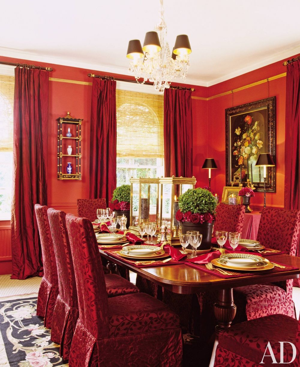 Traditional dining room by adele mcgann by architectural for Traditional red dining room
