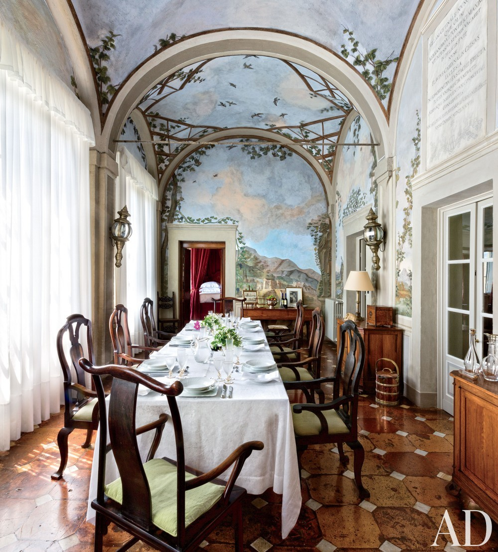 Traditional Dining Room by Camilla Guinness and Bolko von Schweinichen in Tuscany, Italy