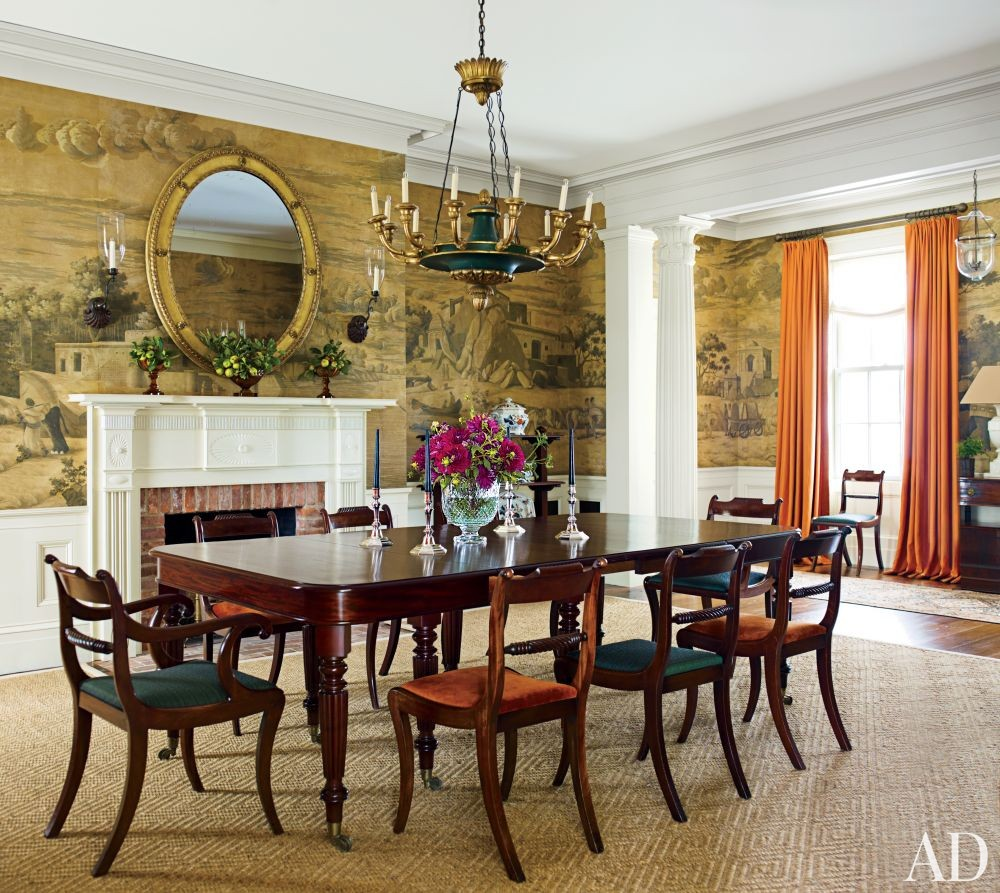 Traditional dining room by g p schafer architect by for Wallpaper traditional home