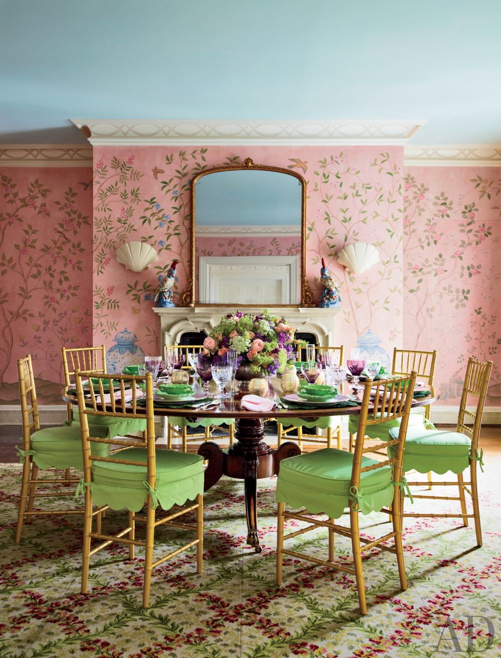 Traditional Dining Room by Mario Buatta and Muse Architecture in Southampton, New York