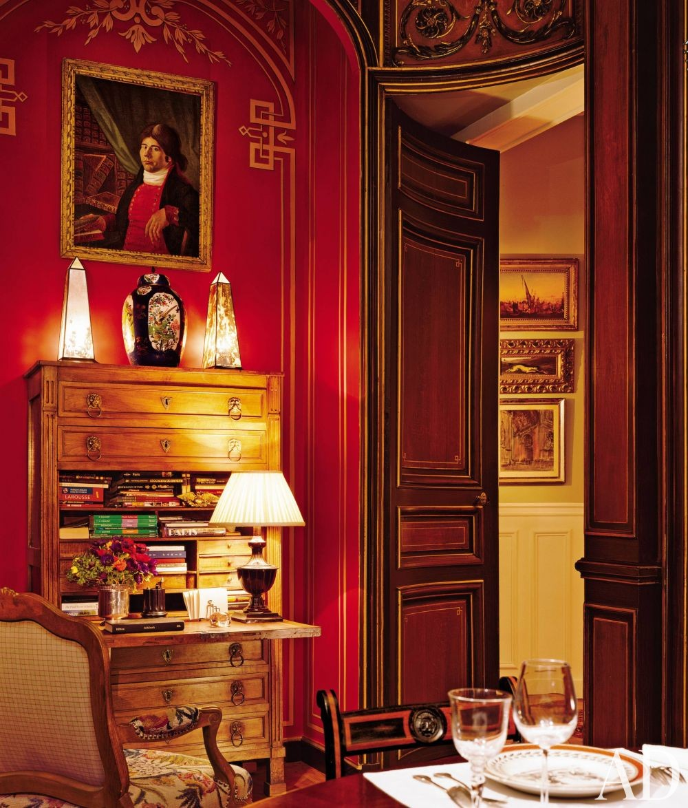 Traditional dining room by timothy corrigan inc by for Traditional red dining room