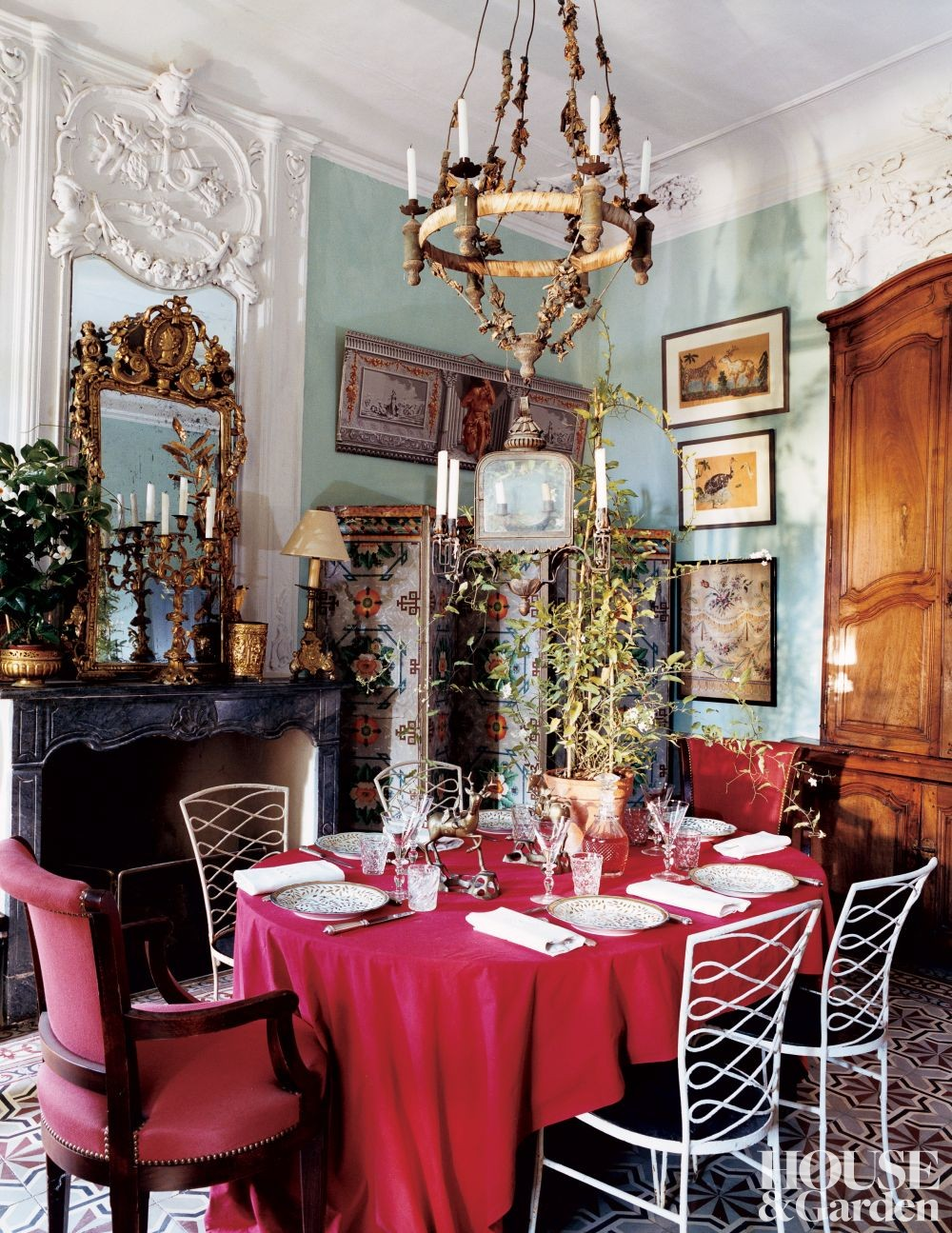 Traditional Dining Room by Yves and Michelle Halard in Provence, France