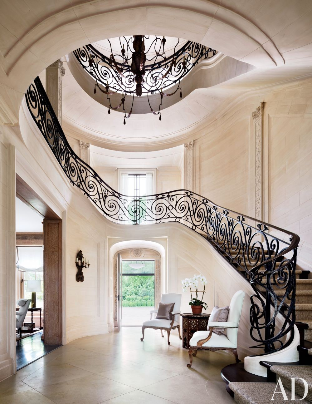 Traditional Entrance Hall by CarolEgan Interiors and Andre Tchelistcheff Architects in Water Mill, New York