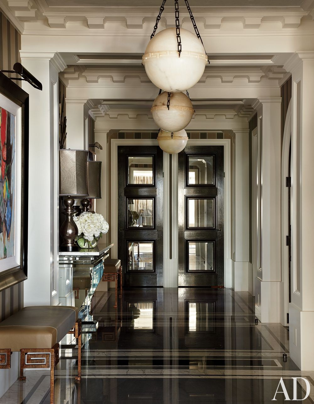 Traditional Entrance Hall by Jean-Louis Deniot in Chicago, Illinois