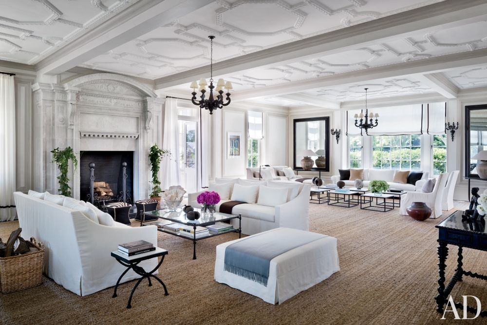 Traditional Living Room by CarolEgan Interiors and Andre Tchelistcheff Architects in Water Mill, New York