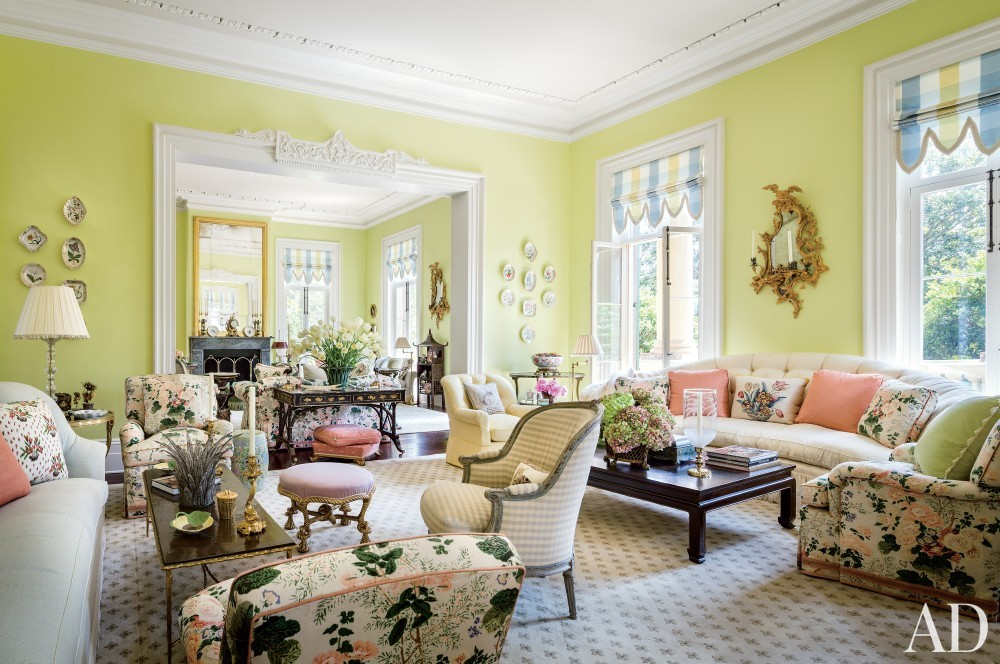 Traditional Living Room by Mario Buatta in Charleston, South Carolina