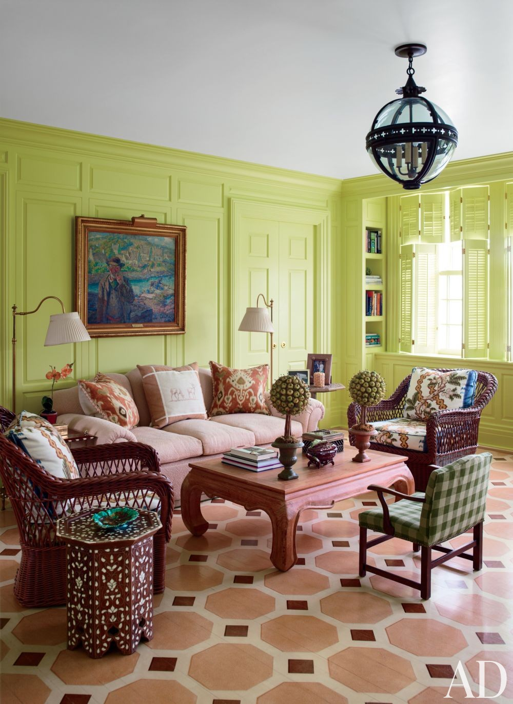 Traditional Living Room by Mario Buatta and Muse Architecture in Southampton, New York