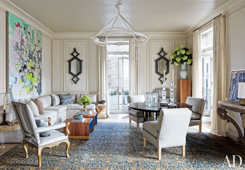 Traditional Living Room by Michael S. Smith Inc. and Marvin Herman & Associates Architects in Chicago, Illinois
