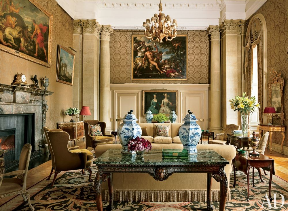 Traditional Living Room by Spencer-Churchill Designs Inc. and Ptolemy Dean Architects Ltd. in Northamptonshire, England