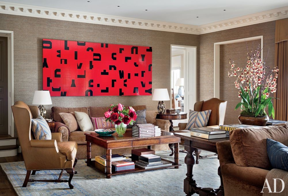 Traditional Media/Game Room by Michael S. Smith Inc. and Ferguson & Shamamian Architects in Beverly Hills, California