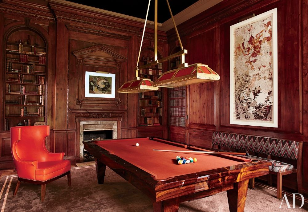 Traditional Media/Game Room by S.R. Gambrel Inc. and Oliver Cope Architect in Old Westbury, New York