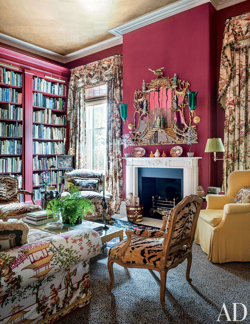 Traditional Office/Library by Mario Buatta in Charleston, South Carolina