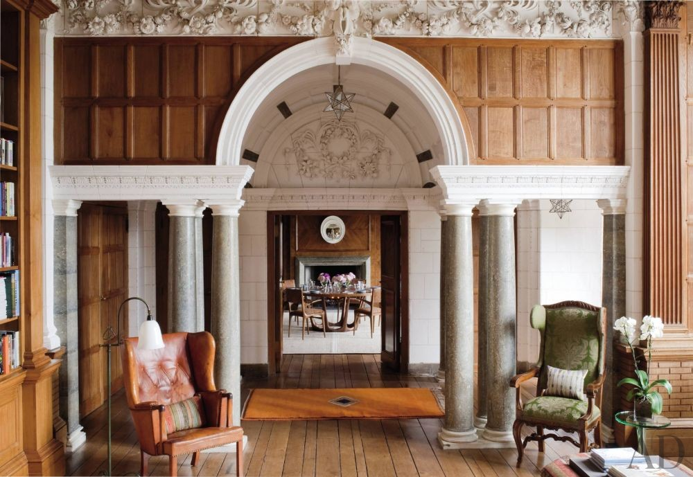 Traditional Office/Library by Robert Couturier Inc. and Edwin Luytens in Hampshire, England