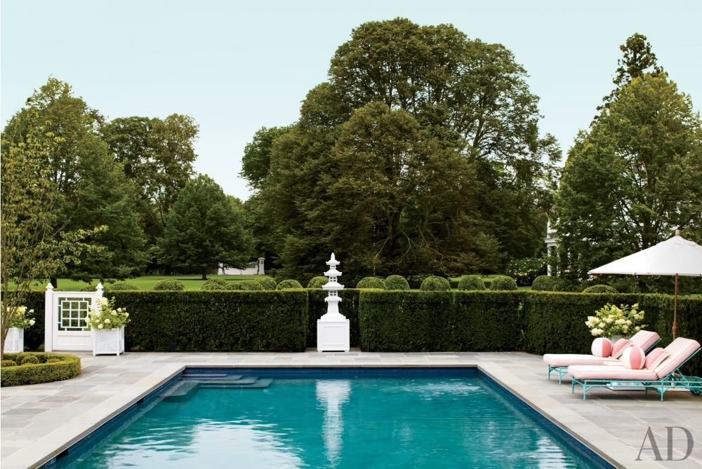 Traditional Pool by Mario Buatta and Muse Architecture in Southampton, New York
