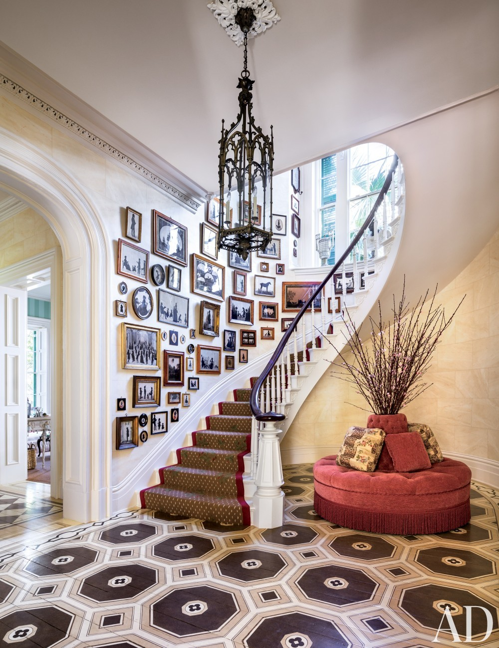 Traditional Staircase/Hallway by Mario Buatta in Charleston, South Carolina