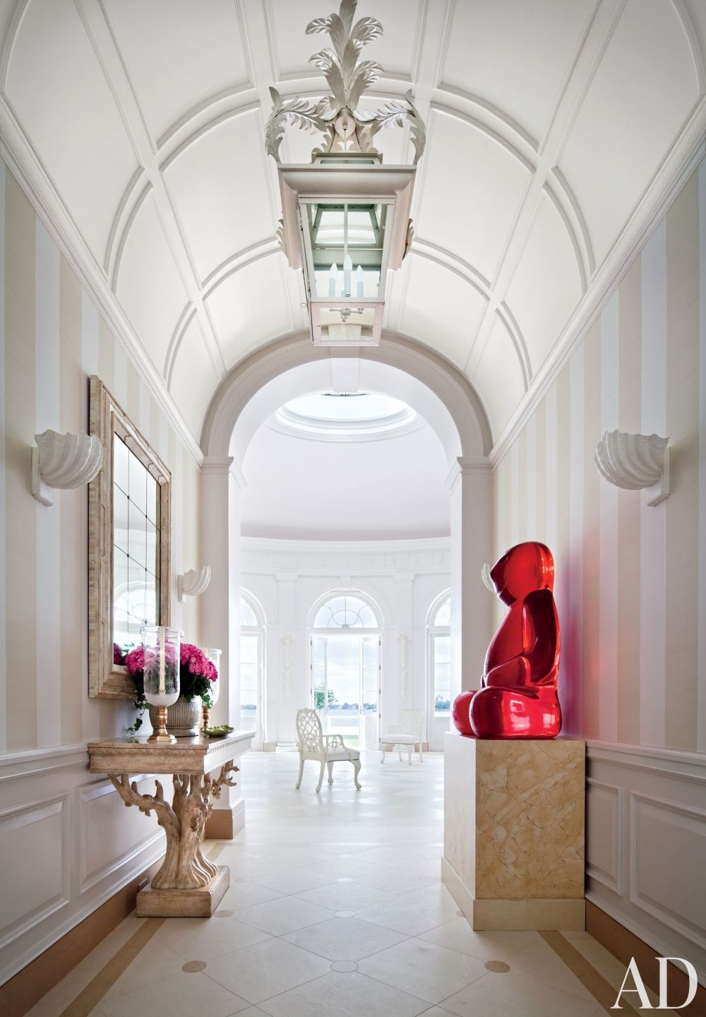 Traditional Staircase/Hallway by Mario Buatta and Thomas M. Kirchhoff in Palm Beach, Florida