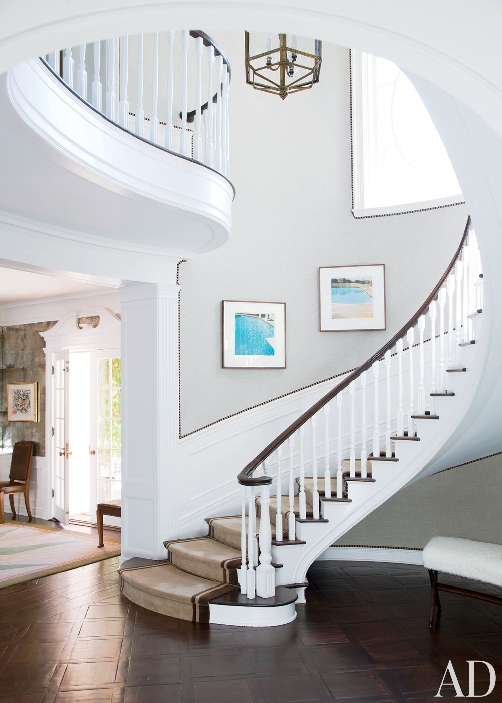 Traditional Staircase/Hallway by Peter Dunham Design in Beverly Hills, California