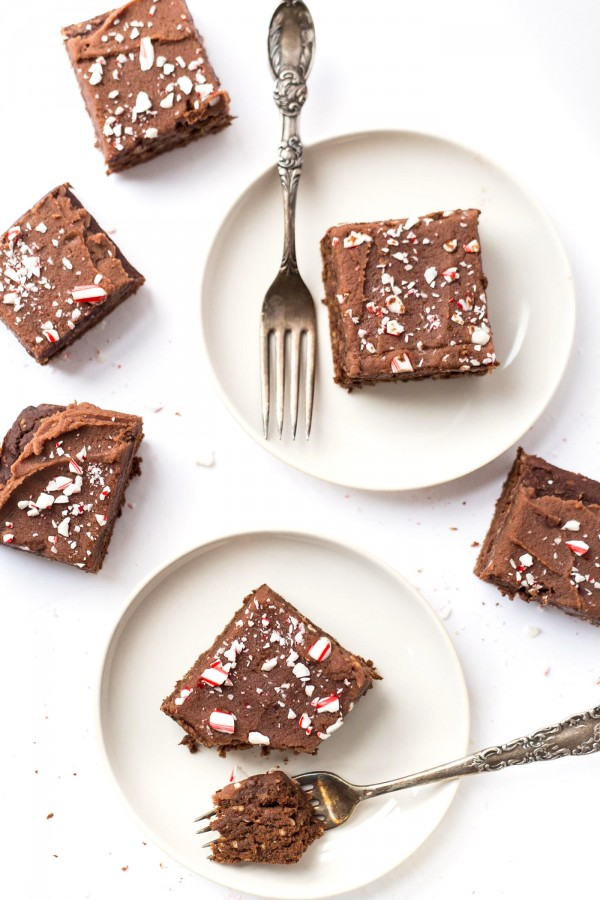 Chickpea Brownies with a creamy peppermint frosting -- healthy, high in protein and perfect for the holidays!
