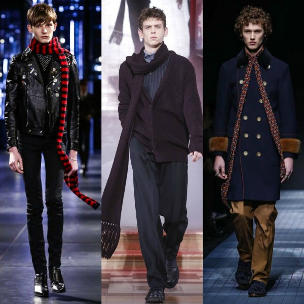 Long narrow scarves, which emerged as a trend on the FW15 runways, lend a regal look. L–R: Saint Laurent, Lanvin, Gucci.