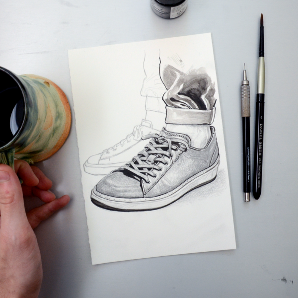 To Boot New York sneaker process with coffee
