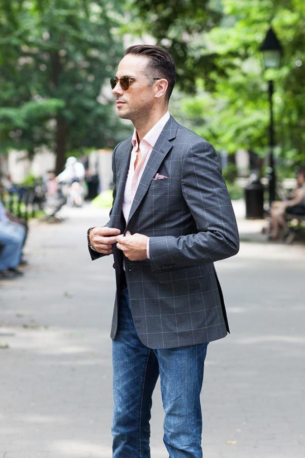 Gray Windowpane Blazer - He Spoke Style