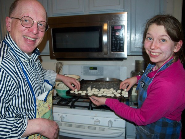 Dad and I cooking gnocchi together
