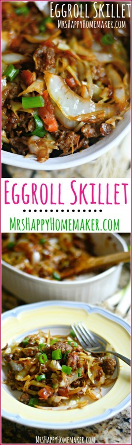 Love Egg Rolls? Well, I've got a dish for you! All the egg roll flavors you love all cooked up into one yummy one dish meal! Egg Roll Skillet, y'all! | MrsHappyHomemaker.com @thathousewife